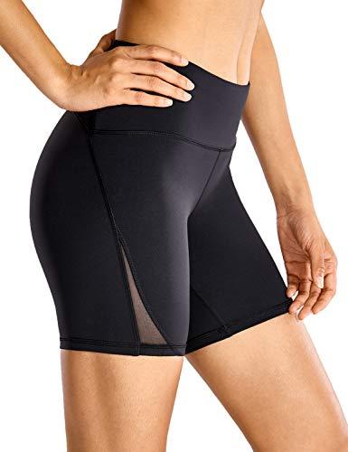 CRZ YOGA Pantalón Corto para Mujer Malla Shorts con Bolsillo Cremallera - 15cm Negro 38