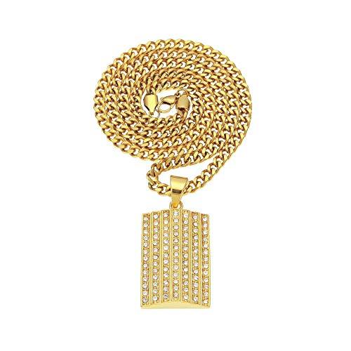 Halskette Gold Edelstahl Anhänger Strass Halskette Männer Hip Hop Mode Punk Rock Schmuckkette