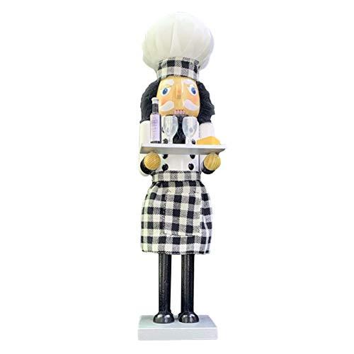 Weihnachten Nussknacker - 38cm Holz Chef Nussknacker Soldat Figur Puppen Spielzeug mit Champagner Weinglas Figur für Weihnachtsdekoration Home Office Desktop Ornament Kinder Erwachsene Geschenk