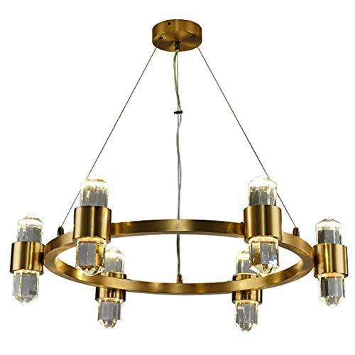 SVHK Lámpara Colgante de araña de Cristal de latón, lámpara de Techo de la Sala de Estar Moderna, iluminación de decoración del hogar de Altura Ajustable para Sala de Estar, Dormitorio, Porche