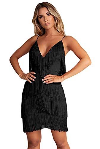 L'VOW Vestido de noche para mujer, estilo charleston de los años 20, con flecos, Gatsby Negro S