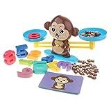 Juguete Educativo Niños Balanza de Equilibrio Números Tarjetas de Monos de Resto y Sumación Juego para Aprendizaje de Aritméticos