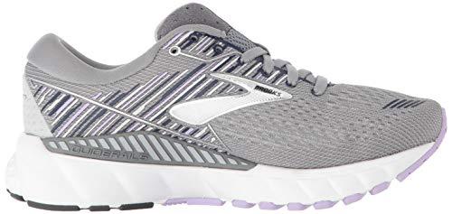 Brooks Womens Adrenaline GTS 19 Running Shoe - Grey/Lavender/Navy - B - 9.5 4