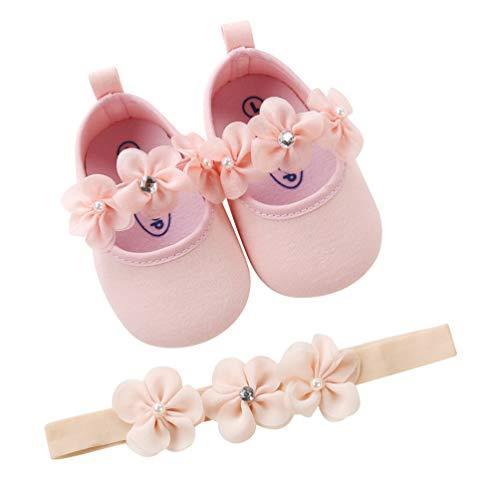EDOTON 2 Pcs Kleinkind Schuhe+ Stirnband, Baby Mädchen Blumen Schuh Anti-Rutsch-Weiche Besondere Anlässe Taufe Hochzeit Party Schuhe,rosa 18 EU(0-6 Monate/Herstellergröße- 1)