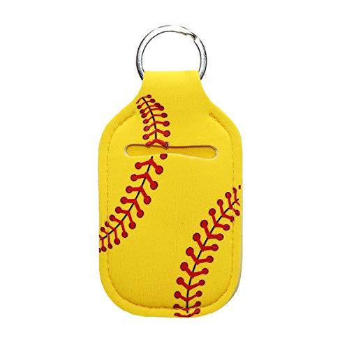 Fashionable Portable 30 ML Hand Sanitizer Bottle Holder Empty -Lightweight Travel Fashion Neoprene Keychain - Use for Hand soap, Lotion, Liquids, Chapstick - Sports Detachable Keyring Charm (Softball)