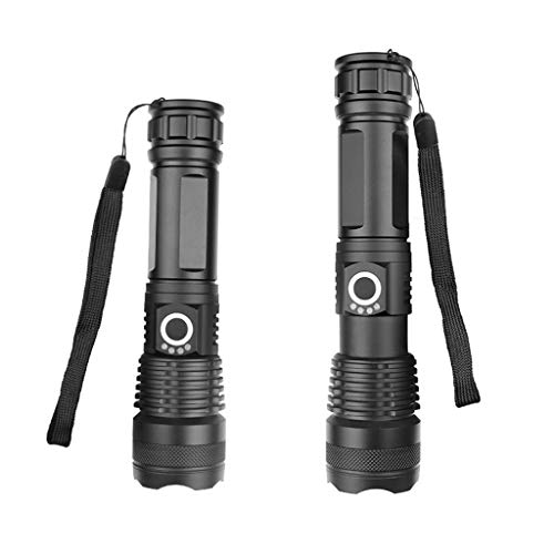 LED FLASHLIGHT, 90000 Lumens, Zoomable & Water Resistant Torch with 26650 Battery & USB Rechargeable Handheld LED Light Best Camping, Outdoor, Emergency, Everyday Flashlights (XHP50)