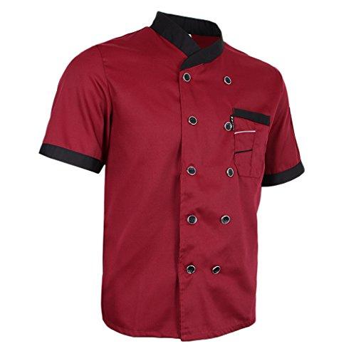 dailymall Veste de Cuisine à Manches Courtes Vêtement de Travail Veste de Cuisinier Chef Professionnel Manteau Blouse Unisexe Uniforme - Rouge, XL