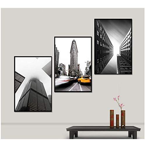 nr Abstracte steden decoratieve zwart-wit verflagen spray schilderen op zeildoek -50x70cm geen veld