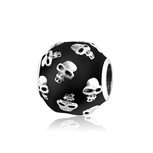 925 Silver Special Black Enamel Skull Charms Beads Fits Original Pandora charm Bracelets Sterling Silver Jewelry making