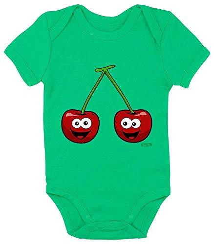 HARIZ Baby Body Kurzarm Kirschen Lachend Früchte Sommer Plus Geschenkkarten Frosch Quietsch Grün 0-3 Monate