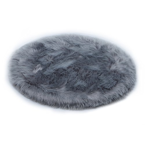 YIHAIC oveja de piel sintética Felpudo alfombra Antideslizante Lujosa Suave Lana artificial Alfombra para salón dormitorio baño sofá silla cojín (Gris, 60 x 60 cm)