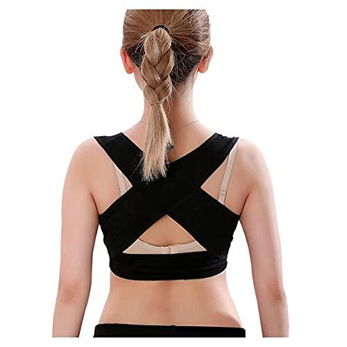 Haltungskorrektor Frauen Rückenbandage Glätteisen Unsichtbare Unterstützung und Glättungs-BH Komfortabler Haltungstrainer (Color : Black, Size : XXL)