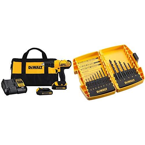 DEWALT 20V MAX Cordless Drill/Driver Kit, Compact, 1/2-Inch (DCD771C2) & Black Oxide Drill Bit Set with Pilot Point, 13-Piece (DW1163)