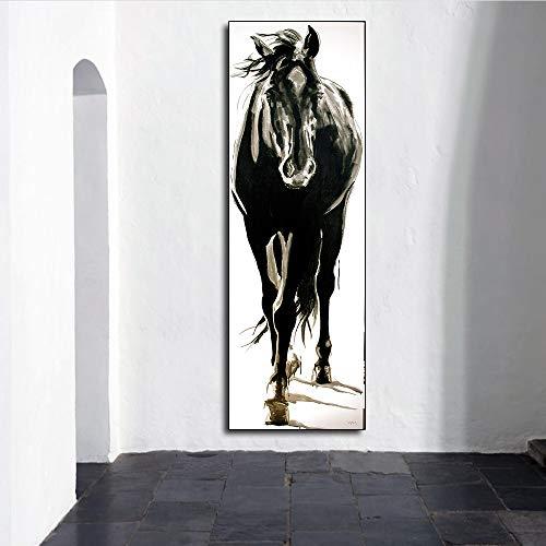 Muurkunst Canvas Beeld Dier Schilderij Zwart en Wit Paard voor Woonkamer Huisdecoratie Geen Frame Schilderij 12x36