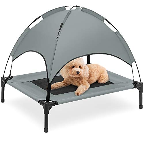 Best Choice Products 30in Elevated Cooling Dog Bed, Outdoor Raised Mesh Pet Cot w/Removable Canopy Shade Tent, Carrying Bag, Breathable Fabric - Gray