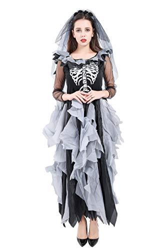 Forever Young - Lussuoso costume da sposa zombie, per donne adulte, motivo con scheletro, costume per Halloween o il Giorno dei Morti Nero 42