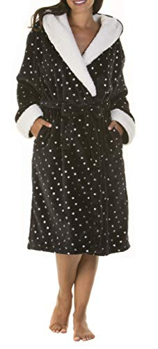 i-smalls Women's Hooded Robe with Sherpa Trim Featuring All Over Shiny Star Print (S/M) Black