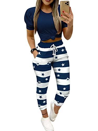 Onsoyours Mujeres 2 Piezas Traje Deportivo Pantalones Casuales Top Manga Corta Chándal Traje de Cintura Alta Ropa de Verano Ajustada C Azul XS