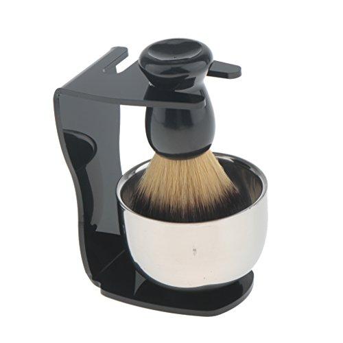 Gazechimp 3 en 1 Blaireau de Rasage en Poils Nylon / Brosse à Raser + Bol de Savon à Barbe en Acier Inox + Support Stand de Blaireau en Acrylique - Outil de Rasage pour Homme Barbiers