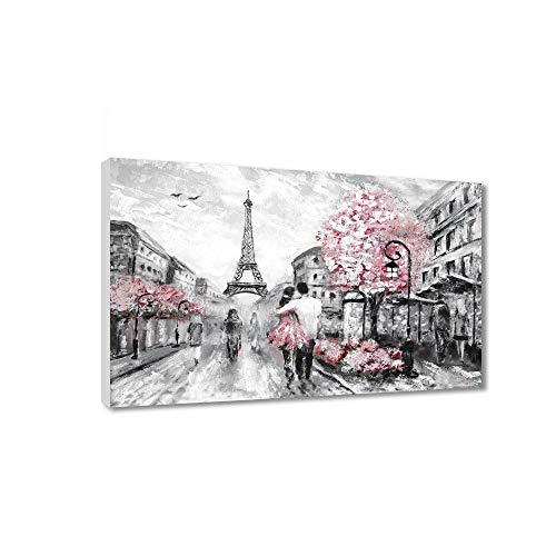 Pintura por números para niños y adultos, kit de regalo de pintura al óleo con marco de madera impreso, lienzo para decoración del hogar, recuerdos de amor de París 40 x 50 cm