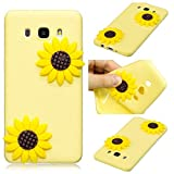LAXIN Galaxy J7 (2016) Case Yellow Sunflower Silicone Ultra-thin Cover 3D Case Ultra Thin Back...