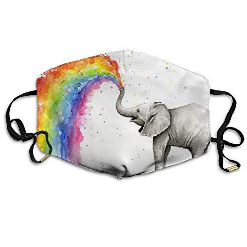 Niedliche Baby-Elefanten sprühen Regenbogen Bedruckte Wiederverwendbare waschbare Gesichtsschutzhülle für den persönlichen Schutz