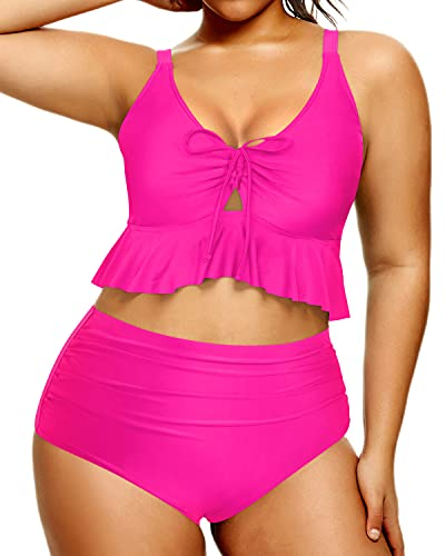 Daci Women Plus Size High Waisted Bikini Ruffle Ruched Tummy Control Two Piece Swimsuits Deep Pink 20 Plus