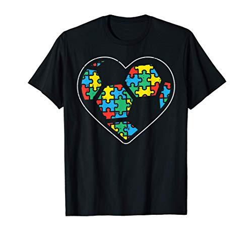 Puzzle Soccer Ball Heart Sport Autism Awareness Boys Girls Camiseta