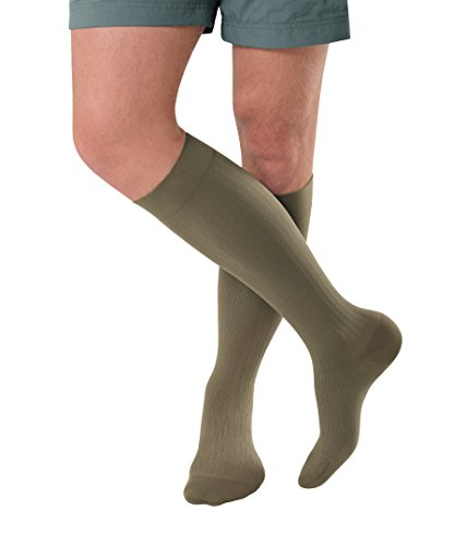 JOBST forMen Ambition Knee High with SoftFit Technology Band, 20-30 mmHg Ribbed Dress Compression Socks, Closed Toe, 3 Regular, Khaki