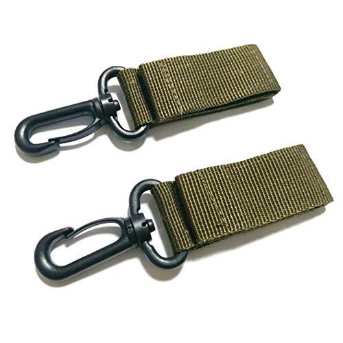 Hebilla de correas de nailon táctico para exteriores de 2 piezas, cinturón de accesorios tácticos de colgado rápido, gancho de cadena multifunción para ventilador militar(ejercito verde)