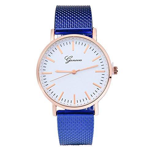 Powzz ornament Geneva Mesh Strap Reloj de silicona de cuarzo clásico para mujer, azul
