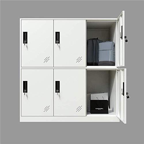 MECOLOR Armadietto da ufficio a 6 ante in metallo, per armadio da ufficio e per soggiorno, per camera da letto e ufficio, con ante e serratura per panno bianco (bianco completo), 6D)