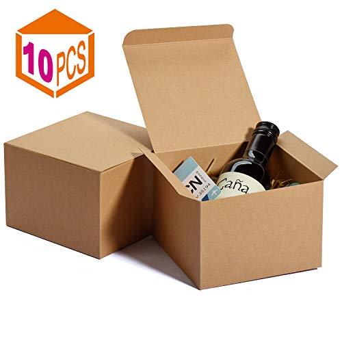 MESHA Kraft Boxes 5 x 5 x 35 Inches Brown Paper Gift Boxes with Lids for Gifts Crafting Cupcake BoxesBoxes for Wrapping GiftsBridesmaid Proposal Boxes 10PACK