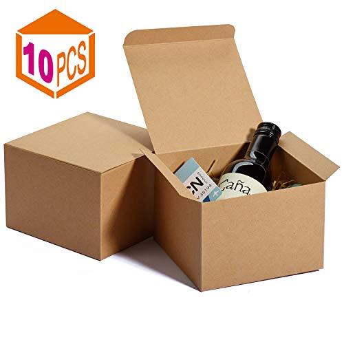 HOUSE DAY Kraft-Boxen 12x12x9cm, braunes Papier Geschenkboxen mit Deckel, Boxen zum Einwickeln von Geschenken, Groomsmen Geschenkbox (10 Pack)