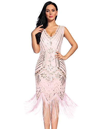 NeeMee Women's 1920s Gastby Sequin Embellished Fringed Flapper Dress (Pink,XL)