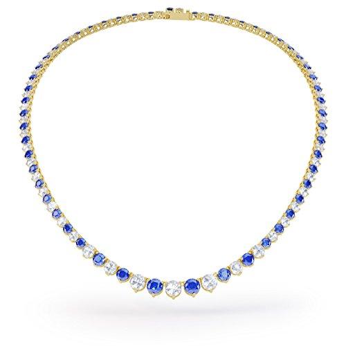 Jian London - Collana Eternity con zaffiro blu e bianco, da 40 a 48 cm, tennis in oro bianco