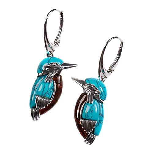 SOQNVLN Pendientes para mujer, hipoalergénicos, exquisitos, ligeros, estilo natural, diseño de pájaro azul, para mujer, color azul