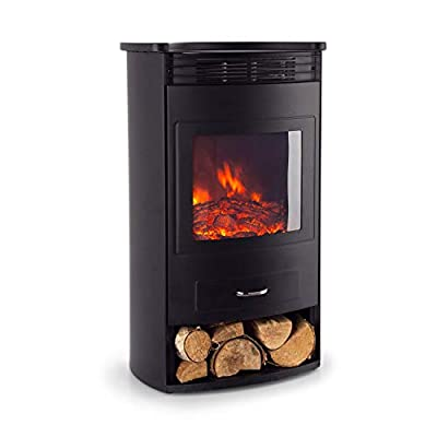 Klarstein Bormio Electric Fireplace with Heater - Electric Fireplace, Electric Fireplace Oven, 950 or 1900 Watts, Thermostat, Switchable Heating Function, Flame Effect, Weekly Timer, Black