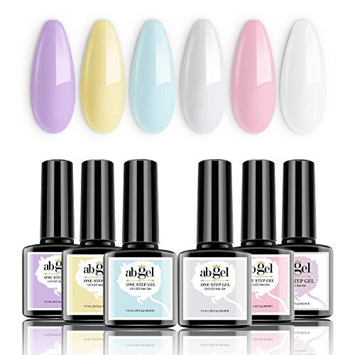 Abgel One Step Gel Set di smalto per unghie - Macaron Series 6 Colori pastello Purple Pink Blue Gel Kit smalto per unghie, non è necessario Base e Cappotto Top Soak Off UV Led Nail Gel Kit manicure