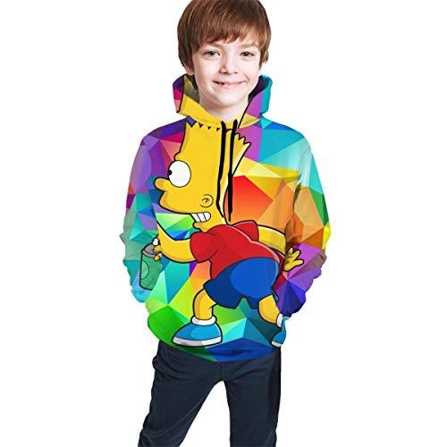 Sudaderas con Capucha de Manga Larga/Sudadera con Capucha Niños Juventud, Suéter para Adolescentes con Ajuste Bart-Simpson Negro