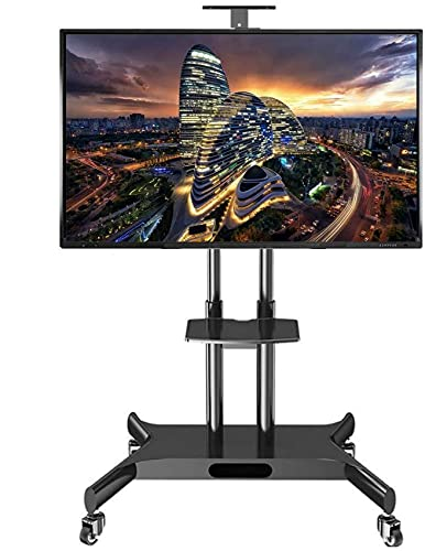 N/Z Home Equipment TV Rack Stand Wall Bracket Rolling TV Stand with 2 Shelfs Tall Heavy Duty Swivel Universal TV Cart for32/40/42/43/49/50/55/60/65/70 Inch Plasma/LCD/LED TVs Load 75kg TV Rack