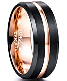 NUNCAD Black Tungsten Carbide Wedding Band 8mm Rose Gold Line Ring Comfort Fit Size 9.5