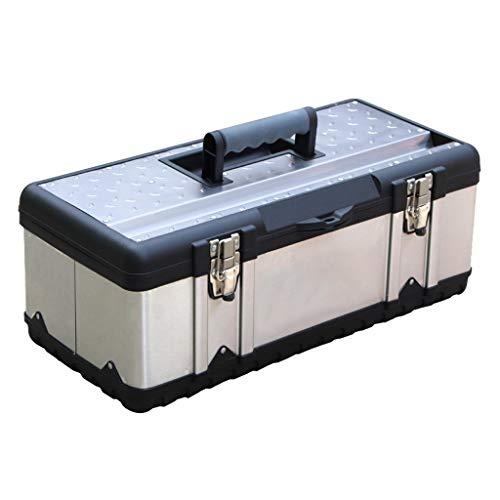 Cajas de piezas pequeñas 16 pulgadas Caja de herramientas con mango cómodo Doble Capa del hogar Caja de almacenamiento extraíble con la herramienta de bandeja organizadora y cajas de herramientas for