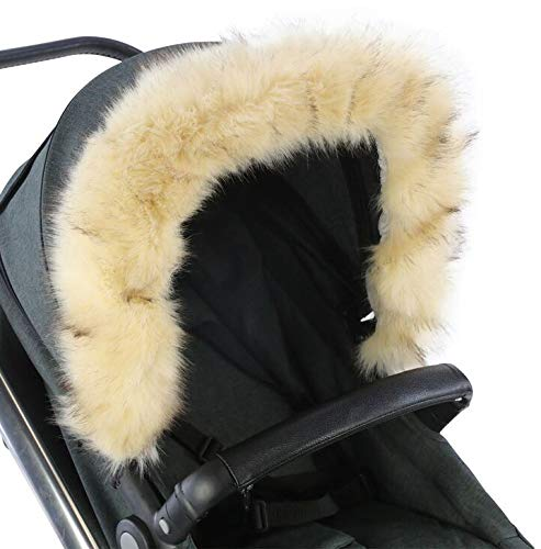 For-Your-Little-One aFHACWB-B166 Pram Fur Hood Trim Compatible On Bumbleride, Beige