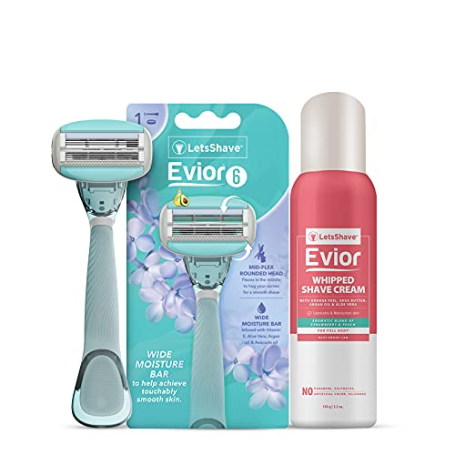 Evior 6 Trial Kit for Sensitive skin- 1 Handle, 1 Blade Cartridge, 1 Blade Case, 1 Whipped Shave Cream