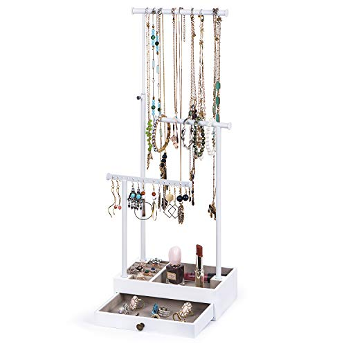 Love-KANKEI Jewelry Tree Stand, Necklace Holder Adjustale Height with Large Capacity for Necklace, Bracelet,and Earrings Storage Drawber Jewelry Organizer, White