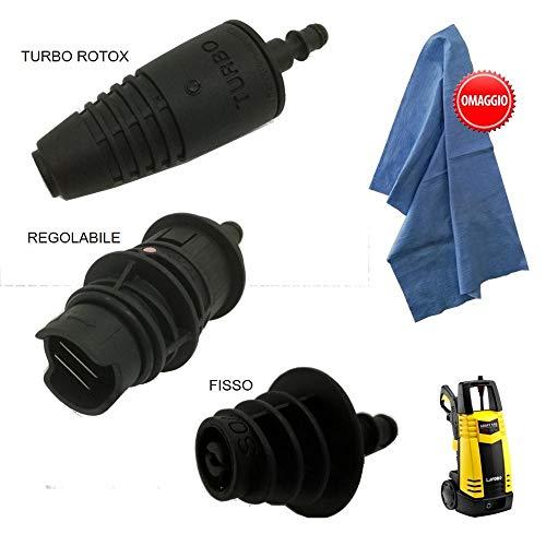 parpyon Kit 3 testine Ricambio per idropulitrice Lavorwash e Fasa con sgancio rapido + in Omaggio Panno Professionale Ultra Resistente – Accessori ricambi idropulitrici