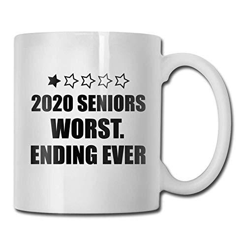 Seniors 2020 El peor final jamás presente de parte de la familia y lo mejor. Taza de café de cerámica, regalos para el día de la madre, novedad, tazas divertidas, regalo de 11 onzas