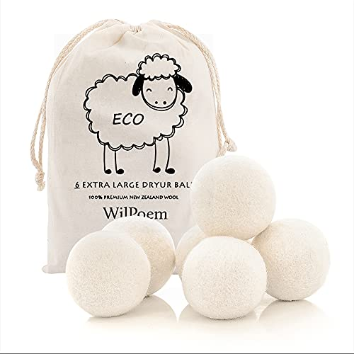 WilPoem New Zealand Nature Wool Dryer Balls - Fabric Softener Ball for Sensitive Skin - Helps Prevent Wrinkles and Reduces Static - Reusable 3000 Cycle Rating - (6 XL Pack)