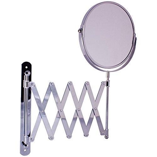 Wandmontage, uittrekbaar rond spiegel chroom 3 x Plus Vergroting spiegel wand gemonteerd 16 cm
